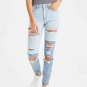 American Eagle Two Tone Distressed Hi-Rise Jegging